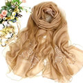 Free Floral Lace Scarf Shawls Women Winter Warm Chiffon Solid 198*70CM - Coffee