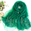 Free Floral Lace Scarf Shawls Women Winter Warm Chiffon Solid 198*70CM - Green