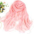 Free Floral Lace Scarf Shawls Women Winter Warm Chiffon Solid 198*70CM - Pink