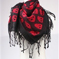 Free Skull Scarf Shawls Women Winter Warm Wool Panties 90*90CM - Red