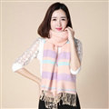 Fringed Fringe Scarves Wrap Women Winter Warm Cashmere Panties 200*70CM - Pink Purple