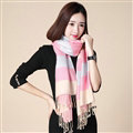 Fringed Fringe Scarves Wrap Women Winter Warm Cashmere Panties 200*70CM - Pink