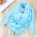 Fringed Lace Floral Scarf Shawls Women Winter Warm Velvet Panties 140*50CM - Blue