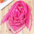 Fringed Lace Floral Scarf Shawls Women Winter Warm Velvet Panties 140*50CM - Rose