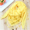 Fringed Lace Floral Scarf Shawls Women Winter Warm Velvet Panties 140*50CM - Yellow