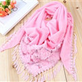Fringed Lace Floral Scarf Shawls Women Winter Warm Velvet Solid 140*50CM - Pink