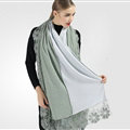 Good Floral Lace Scarves Wrap Women Winter Warm Polyester 210*65CM - Green Blue