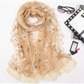 Good Floral Lace Women Scarf Shawls Winter Warm Polyester Scarves 195*56CM - Beige