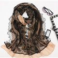 Good Floral Lace Women Scarf Shawls Winter Warm Polyester Scarves 195*56CM - Black