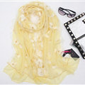 Good Floral Lace Women Scarf Shawls Winter Warm Polyester Scarves 195*56CM - Yellow