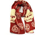 Good Skull Scarf Shawls Women Winter Warm Wool Panties 200*30CM - Red