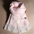 Popular Lace Scarf Shawls Women Winter Warm Wool Panties 180*90CM - Pink
