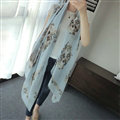 Popular Skull Scarf Scarves For Women Winter Warm Cotton Panties 180*100CM - Blue
