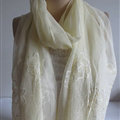 Pretty Embroidered Floral Beaded Scarves Wrap Women Winter Warm Silk 200*50CM - Beige