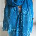 Pretty Embroidered Floral Beaded Scarves Wrap Women Winter Warm Silk 200*50CM - Blue