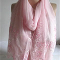 Pretty Embroidered Floral Beaded Scarves Wrap Women Winter Warm Silk 200*50CM - Pink