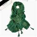 Pretty Embroidered Floral Beaded Scarves Wrap Women Winter Warm Cotton 200*38CM - Green