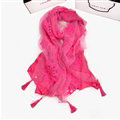 Pretty Embroidered Floral Beaded Scarves Wrap Women Winter Warm Cotton 200*38CM - Rose