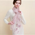 Pretty Floral Lace Scarf Shawls Women Winter Warm Silk Panties 180*70CM - Purple