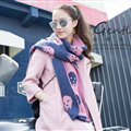 Pretty Skull Scarves Wrap Women Winter Warm Cashmere Panties 180*30CM - Pink Blue
