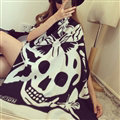 Quality Skull Scarves Wrap Women Winter Warm Cashmere Panties 190*68CM - Black