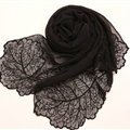 Ruffle Embroidered Beaded Scarves Wrap Women Winter Warm Silk Panties 160*50CM - Black