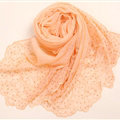 Ruffle Embroidered Beaded Scarves Wrap Women Winter Warm Silk Panties 160*50CM - Orange
