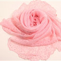 Ruffle Embroidered Beaded Scarves Wrap Women Winter Warm Silk Panties 160*50CM - Pink