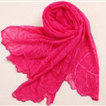 Ruffle Embroidered Beaded Scarves Wrap Women Winter Warm Silk Panties 160*50CM - Rose