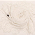 Ruffle Embroidered Beaded Scarves Wrap Women Winter Warm Silk Panties 160*50CM - White