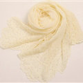 Ruffle Embroidered Beaded Scarves Wrap Women Winter Warm Silk Panties 160*50CM - Yellow