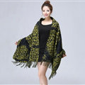Unique Fringed Skull Scarf Shawls Women Winter Warm Wool Panties 200*65CM - Green