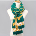 Vintage Plaid Skull Scarves Wrap Women Winter Warm Polyester 200*33CM - Green