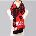 Vintage Plaid Skull Scarves Wrap Women Winter Warm Polyester 200*33CM - Red