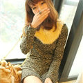 Affordable Dresses Winter Girls Leopard Print Long Sleeved - Black