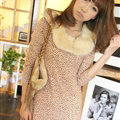 Affordable Dresses Winter Girls Leopard Print Long Sleeved - Pink