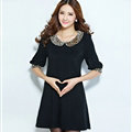 Classy Dresses Fall Women Elbow-Length Sleeve Leopard Print Plus Size - Black