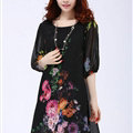Classy Dresses Summer Female Skirts Printed Plus Size Lantern Sleeve - Black
