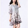 Classy Dresses Summer Female Skirts Printed Plus Size Lantern Sleeve - Grey