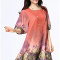 Classy Dresses Summer Female Skirts Printed Plus Size Lantern Sleeve - Orange