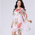 Classy Dresses Summer Female Skirts Printed Plus Size Lantern Sleeve - Pink