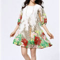 Classy Dresses Summer Female Skirts Printed Plus Size Lantern Sleeve - White Red