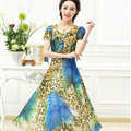 Classy Dresses Summer Women Skirts Leopard Print Knee Length - Blue