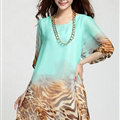 Classy Dresses Summer Women Skirts Leopard Print Plus Size Lantern Sleeve - Green