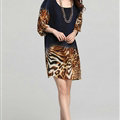 Classy Dresses Summer Women Skirts Leopard Print Plus Size Lantern Sleeve - Royal Blue