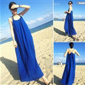 Classy Dresses Winter Ladies Long Skirts Backless Solid Beach Sleeveless - Royal Blue