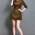 Classy Dresses Winter Ladies Short Skirts Leopard Print Five Sleeved - Yellow
