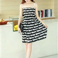 Cute Dresses Summer Girls Sleeveless Stripe Short Sundresses - Black