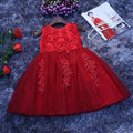 Cute Dresses Winter Flower Girls Bowknot Embroidery Cotton Wedding Party Dress - Red