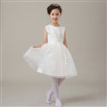 Cute Dresses Winter Flower Girls Bowknot Embroidery Cotton Wedding Party Dress - White